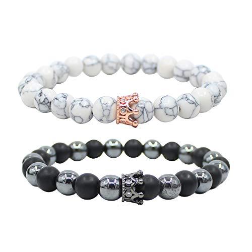 UEUC King & Queen Crown Abstand Paar Hämatit Armbänder Seine Ihr Schwarz Achat 8mm Perlen Armband
