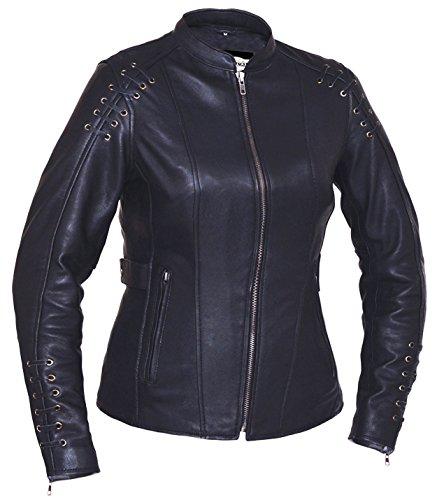 San Diego Leather Ladies Lambskin Biker Jacket with Mandarin Collar and Laced Pattern Black