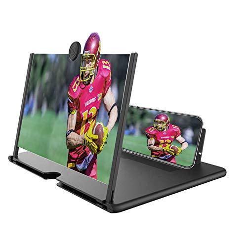 Amplificador de pantalla de teléfono 12 pulgadas 3D HD Amplificador de pantalla de teléfono móvil con proyector de protección antiradiación para los ojos, soporte portátil para teléfono para películas, vídeos, juegos en todos los teléfonos inteligentes