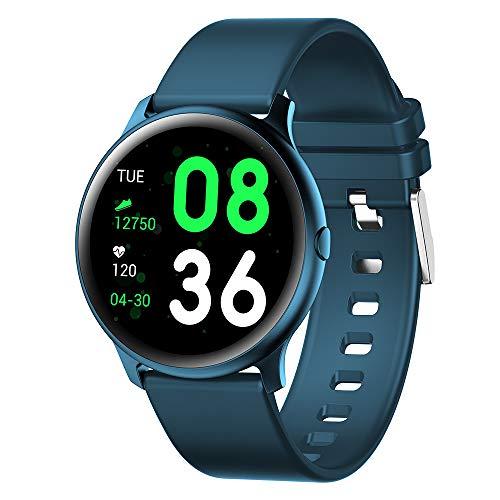 HJKPM KW19 Smartwatch, Reloj Inteligente De Salud De Pantalla Grande Impermeable A Prueba De Agua IP68 con Ritmo Cardíaco Deportivo Monitoreo De Sueño Y Función De Llamada Bluetooth,Azul