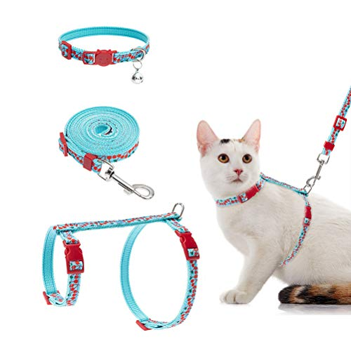 EXPAWLORER Cat Harness Leash Collar Set - H Style with Cherry Pattern, Adjustable Escape Proof for Outdoor Walking