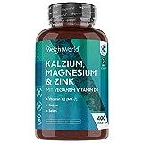 Kalzium, Magnesium & Zink - 400 Tabletten - Mit Vitamin D3, K2, Selen, Mangan, Bor - Geprüfte,...