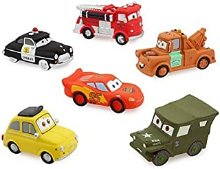 Disney Parks Exclusive Deluxe Cars 6 Piece Squeeze Bath Tub Toys Set by Disney
