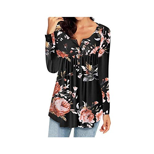 KAFITE Casual Women Bluse mit V-Ausschnitt Button Up Langarm Tunika T-Shirts Herbst...