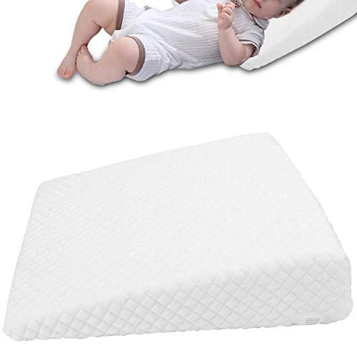 La almohada blanca de la cuña del bebé de la cuna previene la cabeza plana Anti reflujo elevado Cojín de la almohada del cólico