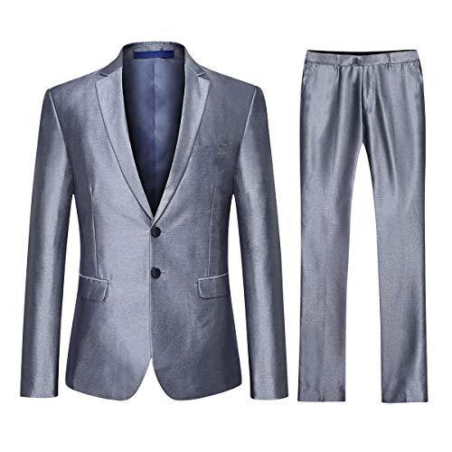 Heren pakken op maat 3 stuk zilver pak Morden Fashion Prom Blazer Waistcoat broek