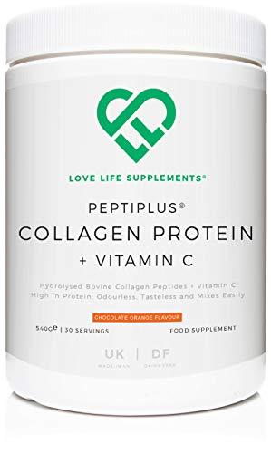 PEPTIPLUS® Colágeno + Vitamina C de LLS | Colágeno bovino hidrolizado más vitamina C para la producción mejorada de colágeno | Paleo/Primal Friendly | Gluten/lácteos gratis (naranja chocolate)