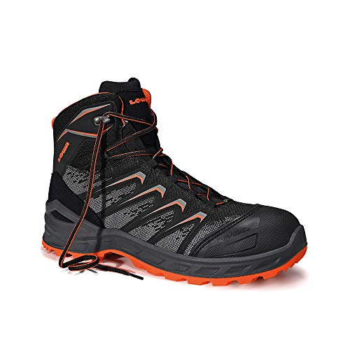 Lowa Sicherheitsschuhe LARROX Work GTX Black Mid S3, Farbe:schwarz/orange, Schuhgröße:48 (UK 12.5)