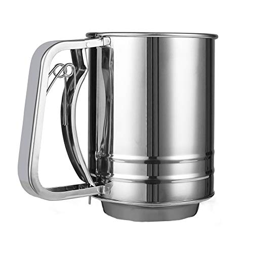 Flour Sifter for Baking Stainless Steel Small Double Sieve with Hand Press Design Corrosion Resistant Baking Sieve Cup for Powdered Sugar