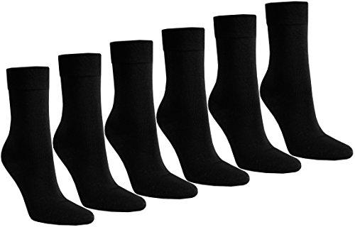STRUMPFEXPRESS 6 PAAR Damen Luxus-Socken Strümpfe Söckchen ohne Gummi Baumwolle mit Elasthan (35-38, schwarz)