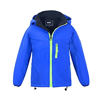 M2C Boys Hooded Waterproof Windbreaker Fleece Lined Softshell Jacket 7/8 Blue