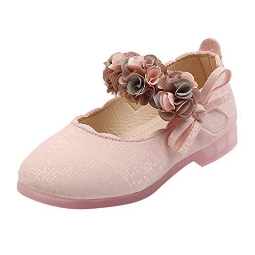 Baby Mädchen Kleine Lederschuhe Weicher Sohle Blumen Leder Lofer Mokassin Prinzessin Schuhe Sandalen, Rosa, 29 EU