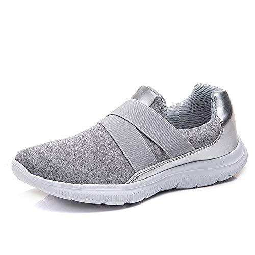 RZJF Atmungsaktive Mesh-Sneakers Für Damen, Trendige Bequeme Ultraleichte Outdoor-Sneakers rutschfeste Weichbesohlte Wanderschuhe,Grau,38