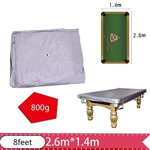 Buyfunny01 Abdeckung für Billardtische, wasserdicht, PVC-Billard-/Snooker-Tisch, Staubschutz, rissfest, Rundumschutz, nicht null, silber, 2.6x1.4m