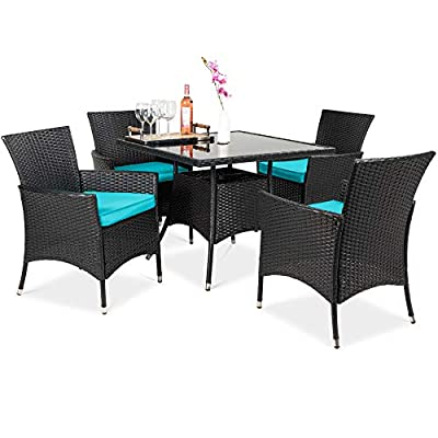 Best Choice Products 5-Piece Indoor Outdoor Wicker Dining Set Furniture for Patio, Backyard w/Square Glass Tabletop, Umbrella Cutout, 4 Chairs - Teal