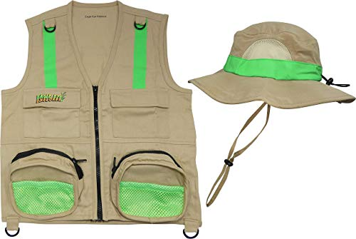 S/M Combination Set Safe for Boys and Girls: 1 Tan Cargo Vest for Kids with Reflective Safety Straps amp 1 Floppy Bucket Sun Hat with Chin Strap Color: Tan