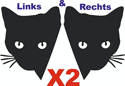LEON-FOLIEN 2 Aufkleber Katzenkopf 12X9cm Links und Rechts Katze Cat Autoaufkleber Sticker Autotattoo Wandtattoo Tattoo Tuning Glanz Folie in Schwarz - 2 Stück