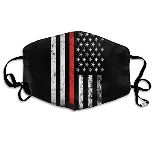 Komfortable verstellbare dünne rote Linie USA Amerikanische Flagge Schwarz Bedruckte Gesichtsdekorationen für Frauen und Männer