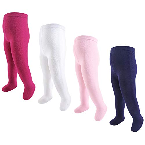 Touched by Nature Girls' Organic Cotton Tights, Cream Pink, 0-9 Months