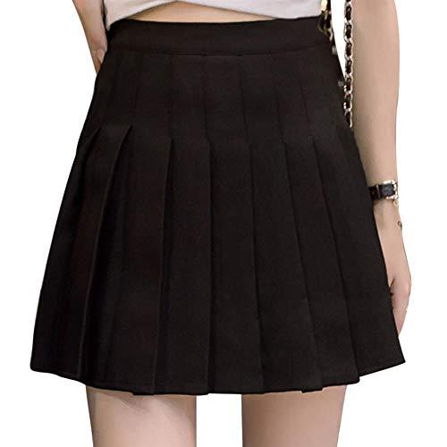 PINKE La Falda Plisada De Color Sólido De Las Mujeres Anilla La Versión Coreana De La Mini Falda Decorativa...
