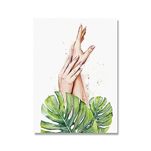 HNZKly SPA Girly Mano Pared Arte Verde Monstera Hojas Poster Abstracto Acuarela Lienzo Cuadros EstéTica Cuadro NóRdico Estampados SalóN De Belleza Dormitorio Hogar Decoracion 40x55cm Sin Marco