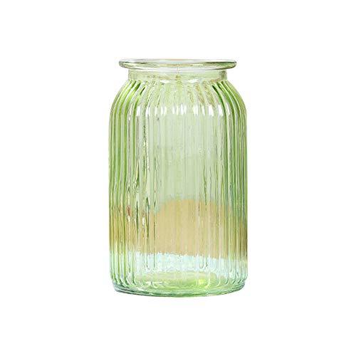 Skyeye Moderne col Large Vase en Verre Rayures Verticales Jacinthe d'Vase en Verre hydroponique Vase pour la Maison Décoration de Jardin Vert 11 cm*18.5 cm