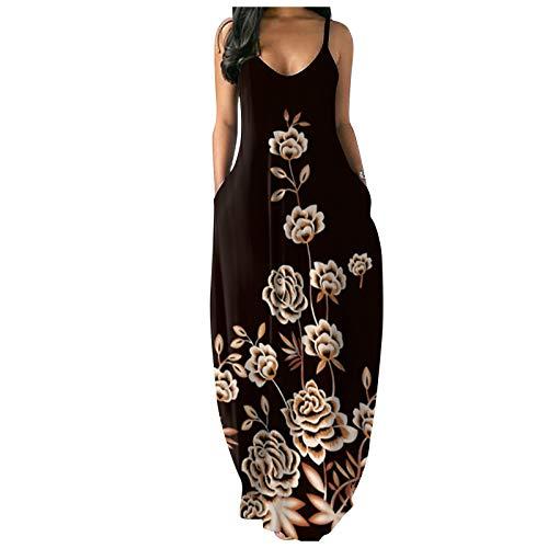 Hniunew Women Cotton Retro Floral Sleeveless Stretch Bodycon Maxi Dress Sexy Boho Casual Elegant Party Beach Long Tank Vest Dresses Sundress with Pocket Beige