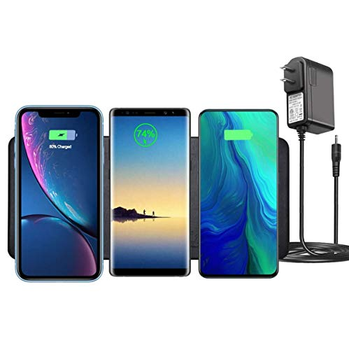 Wireless Charging pad (3×10W), Leather Wireless Charging Station for Multiple Devices Compatible Dual iPhone11 Pro Max XR, Galaxy Series &All QI Enabled Phones (Adapter incloud)