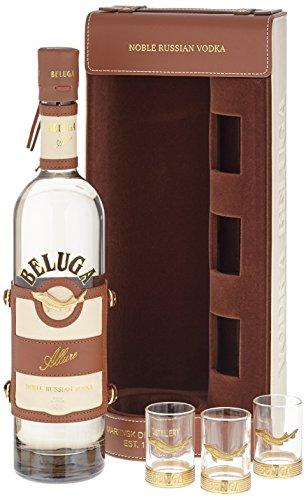 Beluga Allure Noble Russian Wodka in Ledertasche mit 3 Gläsern (1 x 0.7 l)