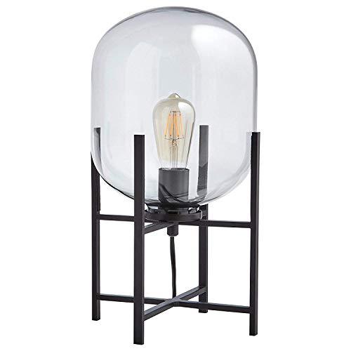 LLYU Moderne Amerikaanse salontafel vierpotige verticale lamp mat zwart met transparante glazen lampenkap