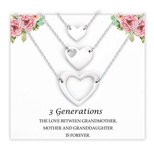 POWWA Oma Mutter Tochter Kette für 3 Muttertag Geschenke für Mama Tochter Oma Herz Halskette Damen Geburtstagsgeschenk für Mama Tochter Oma Nana