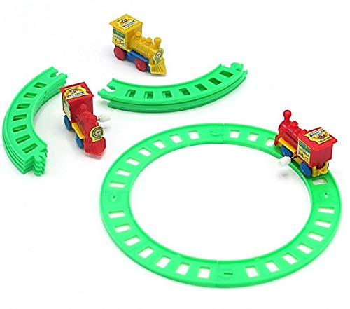 Classic Wind Up Train Set with Bright Green Colored Train Tracks for Ages 3 and Up - Vintage Wind Up Toys for Christmas | Birthdays | Kindergarten - 5 Sets Novelty Toy Vehicle Play Set
