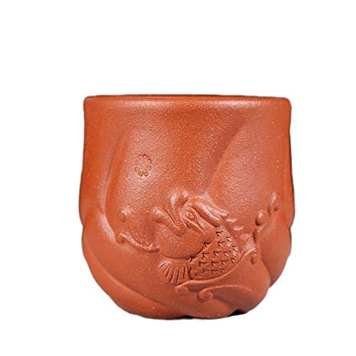 YF-SURINA Juego de té Zisha Taza de té pequeña Taza individual Mineral de arena púrpura Pendiente de gota Barro Taza individual Taza maestra Gaoyuhualong,Barro cuesta abajo