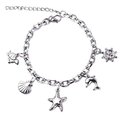 RUNXINTD Ocean Beach Chain Link Bracelet Turtle Starfish Seashell Dolphin Charms Gift for Girls Womens (Silver-Ocean Beach Charm)