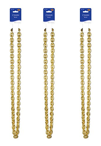 Beistle Chain Beads 3 Piece, Gold