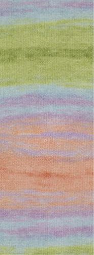 Lana Grossa Silkhair Print 345 - Eisblau/Flieder/Helloliv/Orangerot