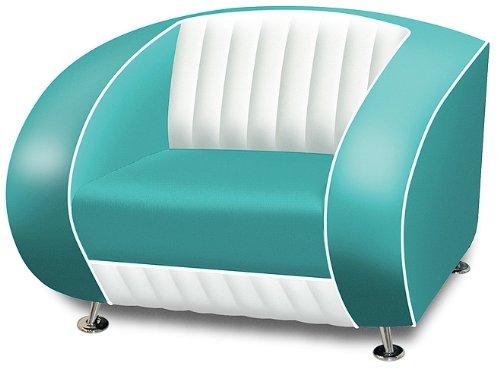 Bel Air Amerikanischer Sessel Retro Style Möbel usa 50er Sofa Designer Sessel Gastronomie Möbel (Türkis/White)