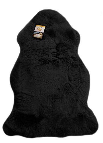 Reissner Lammfelle Schaffell Finn Naturform hoch-/langfloriger Teppich Couchauflage Bettvorleger (95cm auf der Lederseite entspricht ca. 115cm diagonal Fellseite) schwarz 95cm