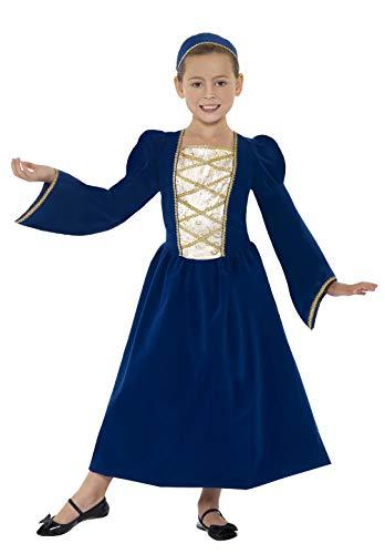 Smiffys Kinder Tudor Prinzessin Mädchen Kostüm, Kleid und Haarreif, Größe: M, 44013