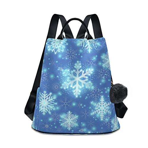 Waterproof Fashion Backpack for Women Anti Theft Womens Classical Daypack Travel Shoulder Bag Christmas Glitter Snowflakes