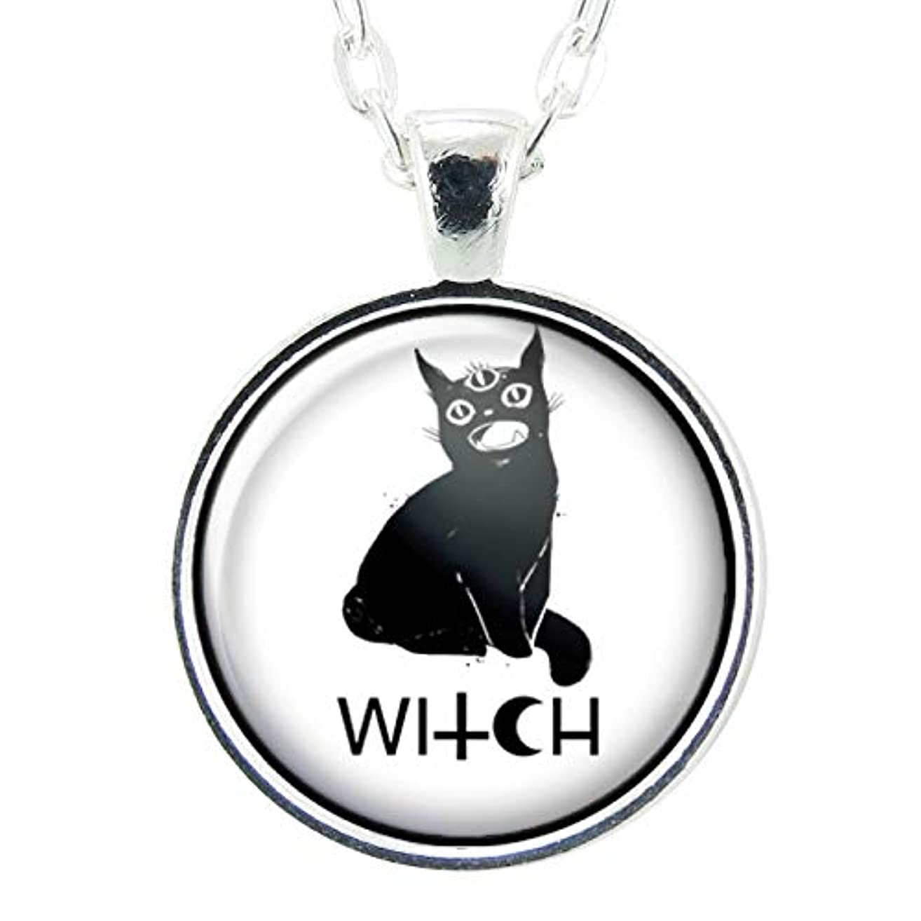 Black Cat Witch Handmade Art Pendant, Black And White Charm On Necklace Chain