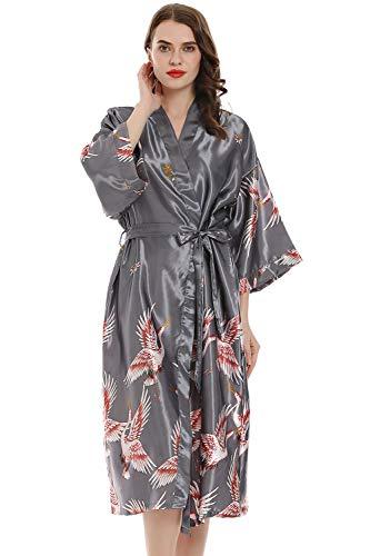 YAOMEI Mujer Vestido Kimono Satén Larga, Camisón para