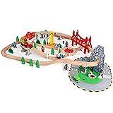 WSZMD Construya vías de Tren Flexibles, 100 Piezas multifuncionales de Madera de Juegos de vías de Tren, niños y niñas, Coches de Juguete,100 Pieces of Track
