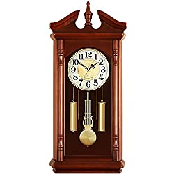 Qddan Fireplace Clock Mantle Clock Pendulum Clock Nordic Retro Desk Clock Sitting Clock Mute Digital Clock Time Report Gift, Suitable for Decorating Living Room, Fireplace, Desk, 76x35x14cm