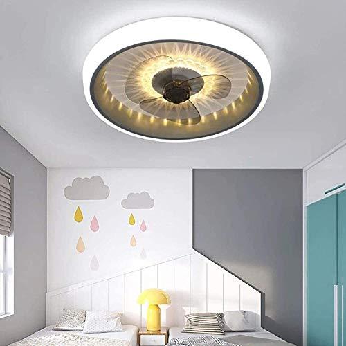FJY Luz de Techo LED Moderna con Ventilador, Velocidad de Viento Ajustable, Control Remoto Regulable, Luz de Techo LED Moderna 72W, Restaurante Sala de Estar Dormitorio, C