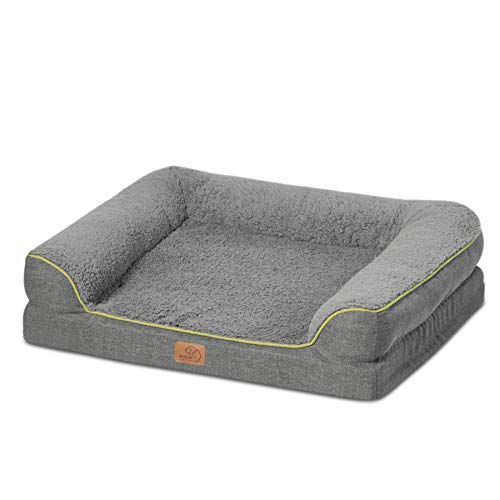 Bedsure Orthopedic Memory Foam Dog Bed - Dog Sofa with Removable Washable Cover & Waterproof Liner, Couch Dog Beds for Medium, Large Pets up to 75 lbs