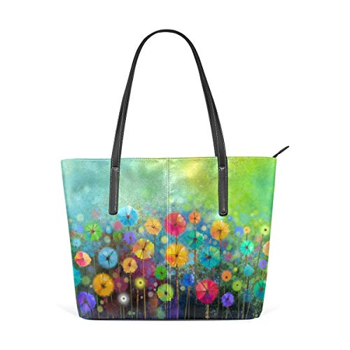 XGBags Custom Borsa a tracolla in pelle PU da donna Womens Purse Abstract Floral Watercolor PU Leather Shoulder Tote Bag