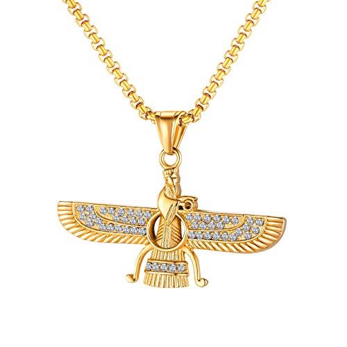 N/A Colgante de Collar Colgante de Collar de ala para Hombres Joyas de Oro Inoxidable Regalo de cumpleaños de Navidad