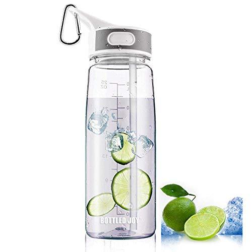 Bottled Joy Sport-Wasserflasche mit Strohhalm und Griff, 100 % BPA-frei, staubdichter Verschluss, Wasserflaschen für Outdoor-Aktivitäten, Wandern, Camping, 800 ml, ., farblos