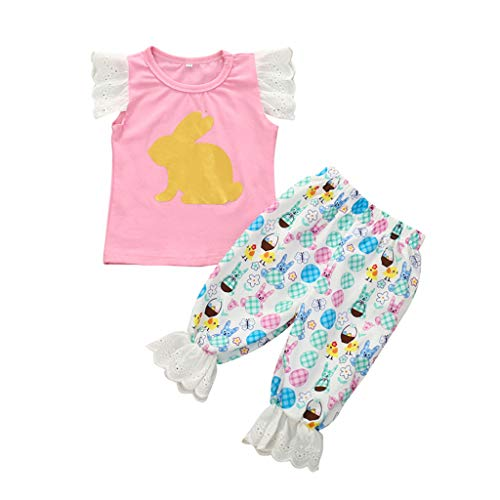 Kind Baby Mädchen Jungs Hase Drucken T-Shirt Tops Spitze Hose Outfits